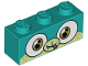 Part No: 3622pb075  Name: Brick 1 x 3 with Dog Face Wide Eyes Smiling, Light Green Muzzle and Snout, Closed Mouth and Tongue Pattern (Alien Puppycorn)