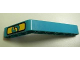 Part No: 6629pb005  Name: Technic, Liftarm, Modified Bent Thick 1 x 9 (6 - 4) with Yellow '5' on Dark Turquoise and Yellow Background Pattern (Sticker) - Set 8245