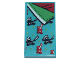 Part No: 87079pb0854  Name: Tile 2 x 4 with Bedspread with Red and Black Ninjas, Green and Red Sheets Pattern (Sticker) - Set 71741