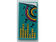 Part No: 87079pb0963  Name: Tile 2 x 4 with Dark Turquoise Blanket with Dark Blue Musical Notes, Circles, Magenta Dot and Yellow Equalizer Bars Pattern (Sticker) - Set 41341