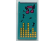Part No: 87079pb0964  Name: Tile 2 x 4 with Dark Turquoise Blanket with Dark Blue and Magenta Musical Notes and Yellow Equalizer Bars Pattern (Sticker) - Set 41341