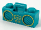 Part No: 93221pb06  Name: Minifigure, Utensil Radio Boom Box with Bar Handle with Gold Sound Wave Display and Rimmed Speakers Pattern