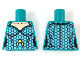 Part No: 973pb3284  Name: Torso Female Light Nougat Neck, Silver Hexagonal Scales, Gold Atlantis Logo Pattern