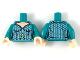 Part No: 973pb3284c01  Name: Torso Female Light Nougat Neck, Silver Hexagonal Scales, Gold Atlantis Logo Pattern / Dark Turquoise Arms / Light Nougat Hands