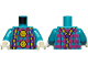 Part No: 973pb3847c01  Name: Torso Magenta Argyle Sweater, 2 Yellow Pom Poms and Dark Purple Suspenders with Yellow Semicircles Pattern / Dark Turquoise Arms / White Hands