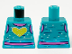Part No: 973pb3943  Name: Torso Tank Top, Dark Pink Neck and Midriff, Yellow Heart, and Metallic Light Blue Spots Pattern
