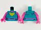 Part No: 973pb3943c01  Name: Torso Tank Top, Dark Pink Neck and Midriff, Yellow Heart, and Metallic Light Blue Spots Pattern / Dark Pink Arms / Dark Pink Hands