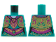 Part No: 973pb4240  Name: Torso Female Ornate Vest and Dress, Magenta Collar, Filigree, Sash, Gold Trim and Musical Note Pattern