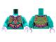 Part No: 973pb4240c01  Name: Torso Female Ornate Vest and Dress, Magenta Collar, Filigree, Sash, Gold Trim and Musical Note Pattern / Dark Turquoise Arms / Lavender Hands