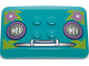 Part No: 98281pb014  Name: Wedge 6 x 4 x 2/3 Quad Curved with Headlights, Bumper, and Magenta Flowers on Bright Green Leaves Pattern