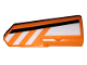 Part No: 11946pb028  Name: Technic, Panel Fairing #21 Very Small Smooth, Side B with Black and White Stripes  Partially Dashed on Orange Background Pattern (Sticker) - Set 42038