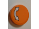 Part No: 14769pb312  Name: Tile, Round 2 x 2 with Bottom Stud Holder with White Curved Arrow Double with Black Outline on Orange Background Pattern (Sticker) - Set 60062