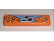 Part No: 2431pb088  Name: Tile 1 x 4 with Black '5' and White Stars on Orange Background Pattern (Sticker) - Set 8193
