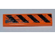 Part No: 2431pb217  Name: Tile 1 x 4 with Black and Orange Danger Stripes and Splatters Pattern (Sticker) - Set 8961