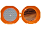Part No: 29632c13pb01  Name: Container, Pod with Light Bluish Gray 6 x 6 Round Plate and Orange 1 x 2 Plate with Ninjago Pattern (Stickers) - Set 853759