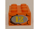Part No: 3002pb22R  Name: Brick 2 x 3 with Number '12' in Light Gray Oval on Snakeskin Background Pattern on End Model Right Side (Sticker) - Set 8158