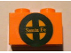Part No: 3004pb095  Name: Brick 1 x 2 with Yellow 'Santa Fe' and Dark Green Logo Pattern (Sticker) - Set 10133