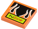 Part No: 3068bpb0444  Name: Tile 2 x 2 with Groove with 'FUZONE' and Orange Flames on Black Background Pattern (Sticker) - Set 8125