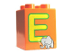 Part No: 31110pb047  Name: Duplo, Brick 2 x 2 x 2 with Letter E and Elephant Pattern