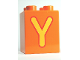 Part No: 31110pb067  Name: Duplo, Brick 2 x 2 x 2 with Letter Y Pattern