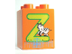 Part No: 31110pb068  Name: Duplo, Brick 2 x 2 x 2 with Letter Z and Zebra in Zoo Pattern