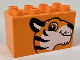 Part No: 31111pb041  Name: Duplo, Brick 2 x 4 x 2 with Tiger Head Pattern