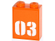 Part No: 3245cpb029  Name: Brick 1 x 2 x 2 with Inside Stud Holder with White '03' on Orange Background Pattern (Sticker) - Set 60035