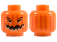 Part No: 3626bpb0388  Name: Minifigure, Head Pumpkin Jack O' Lantern with Vertical Lines on Back Pattern - Blocked Open Stud