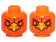 Part No: 3626cpb1167  Name: Minifigure, Head Dual Sided Alien Chima Phoenix with Orange Eyes, Circles, Red Feathers and Yellow Beak, Neutral / Stern Pattern (Frax) - Hollow Stud