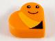 Part No: 39739pb04  Name: Tile, Round 1 x 1 Heart with Worm, Bright Light Orange Stripe, Black Eyes and Smile Pattern (Sesame Street Slimey)