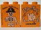 Part No: 4066pb149  Name: Duplo, Brick 1 x 2 x 2 with Halloween 2003 Brick or Treat / Happy Halloween Pattern (Legoland Logo)