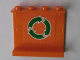 Part No: 4215bpb42  Name: Panel 1 x 4 x 3 - Hollow Studs with Green and White Recycle Arrows on Orange Background Pattern (Sticker) - Set 7991