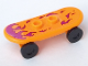 Part No: 42511c01pb21  Name: Minifigure, Utensil Skateboard with Trolley Wheel Holders with Magenta Flame Pattern (Sticker) and Black Trolley Wheels (42511c01pb21 / 2496)
