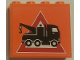 Part No: 60581pb121  Name: Panel 1 x 4 x 3 with Side Supports - Hollow Studs with Tow Truck Danger Sign Pattern (Sticker) - Set 7642