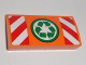 Part No: 88930pb066  Name: Slope, Curved 2 x 4 x 2/3 with Bottom Tubes with Recycling Arrows and Red and White Danger Stripes Pattern (Sticker) - Set 60118