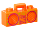 Part No: 93221pb05  Name: Minifigure, Utensil Radio Boom Box with Handle with Magenta Cassette Player, Switches and Rimmed Speakers Pattern