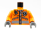 Part No: 973pb0303c01  Name: Torso Rescue Coast Guard Logo Jacket with Pockets and Radio Pattern / Orange Arms / Dark Gray Hands