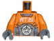 Part No: 973pb0407c01  Name: Torso Exo-Force with 'AT.01' Pattern / Orange Arms / Dark Bluish Gray Hands