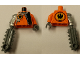 Part No: 973pb0487c01  Name: Torso Agents Villain with Zipper & Silver Inset Pattern / Orange Arm and DBG Hand Left / Met Silver Mech Arm and DBG Chainsaw Right