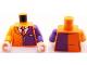 Part No: 973pb1006c01  Name: Torso Batman Suit with Dark Purple Half Panel and Tie Pattern / Dark Purple Arm Left / Orange Arm Right / Light Nougat Hands