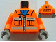 Part No: 973pb1144c01  Name: Torso Construction Vest with Pockets and Blue Shirt Front, 2012 The LEGO Store Wauwatosa, WI Back Pattern / Orange Arms / Dark Bluish Gray Hands