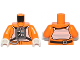 Part No: 973pb1316c01  Name: Torso SW Rebel Pilot with Black Belt with Buckle on Back Pattern / Orange Arms / White Hands