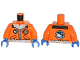 Part No: 973pb1683c01  Name: Torso Arctic Explorer Logo with Zipper and White Fur Trim Pattern / Orange Arms / Blue Hands