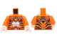 Part No: 973pb1720c01  Name: Torso Black Tiger Stripes, Dark Red and Gold Armor and Fire Chi Emblem Pattern / Orange Arms / White Hands