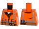 Part No: 973pb1905  Name: Torso Safety Vest with Reflective Stripes, Reddish Brown Shirt,  Belt with Pouches and Pliers Pattern