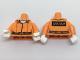 Part No: 973pb2568c01  Name: Torso Batman Prisoner Jumpsuit with Belt, White Undershirt and 'ARKHAM' on Back Pattern / Orange Arms / White Hands