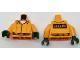 Part No: 973pb2568c02  Name: Torso Batman Prisoner Jumpsuit with Belt, White Undershirt and 'ARKHAM' on Back Pattern / Orange Arms / Dark Green Hands