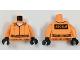 Part No: 973pb2568c04  Name: Torso Batman Prisoner Jumpsuit with Belt, White Undershirt and 'ARKHAM' on Back Pattern / Orange Arms / Black Hands