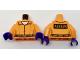 Part No: 973pb2654c01  Name: Torso Batman Prisoner Female Jumpsuit with Belt, White Undershirt and 'ARKHAM' on Back Pattern / Orange Arms / Dark Purple Hands