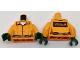 Part No: 973pb2654c02  Name: Torso Batman Prisoner Female Jumpsuit with Belt, White Undershirt and 'ARKHAM' on Back Pattern / Orange Arms / Dark Green Hands